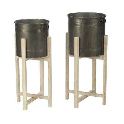 Round Tin Elevated Storage Buckets (Set of 2)