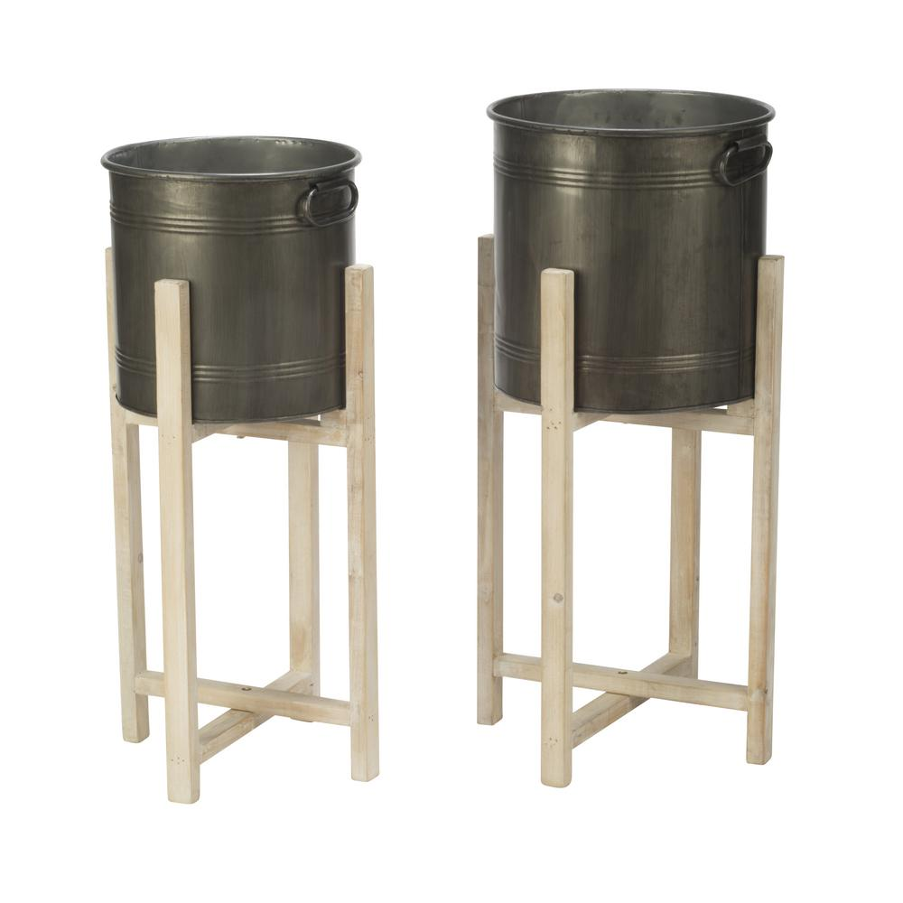32.5 in. H Gray Metal Indoor Planter Stands (2-Pack)