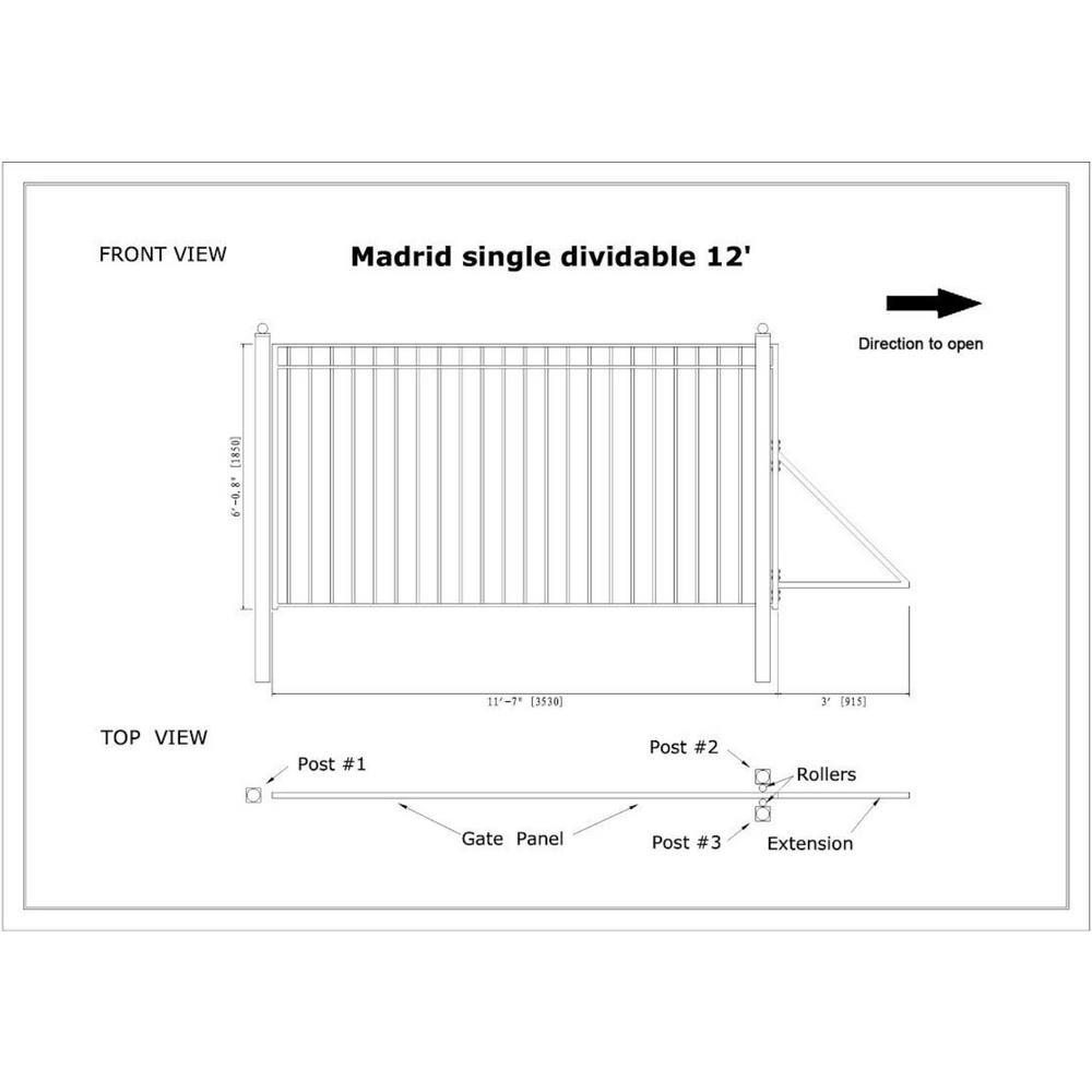 ALEKO DG12MADSSL Madrid Style Single Sliding Galvanized Steel Driveway Security Gate 12 x 6 Feet Black