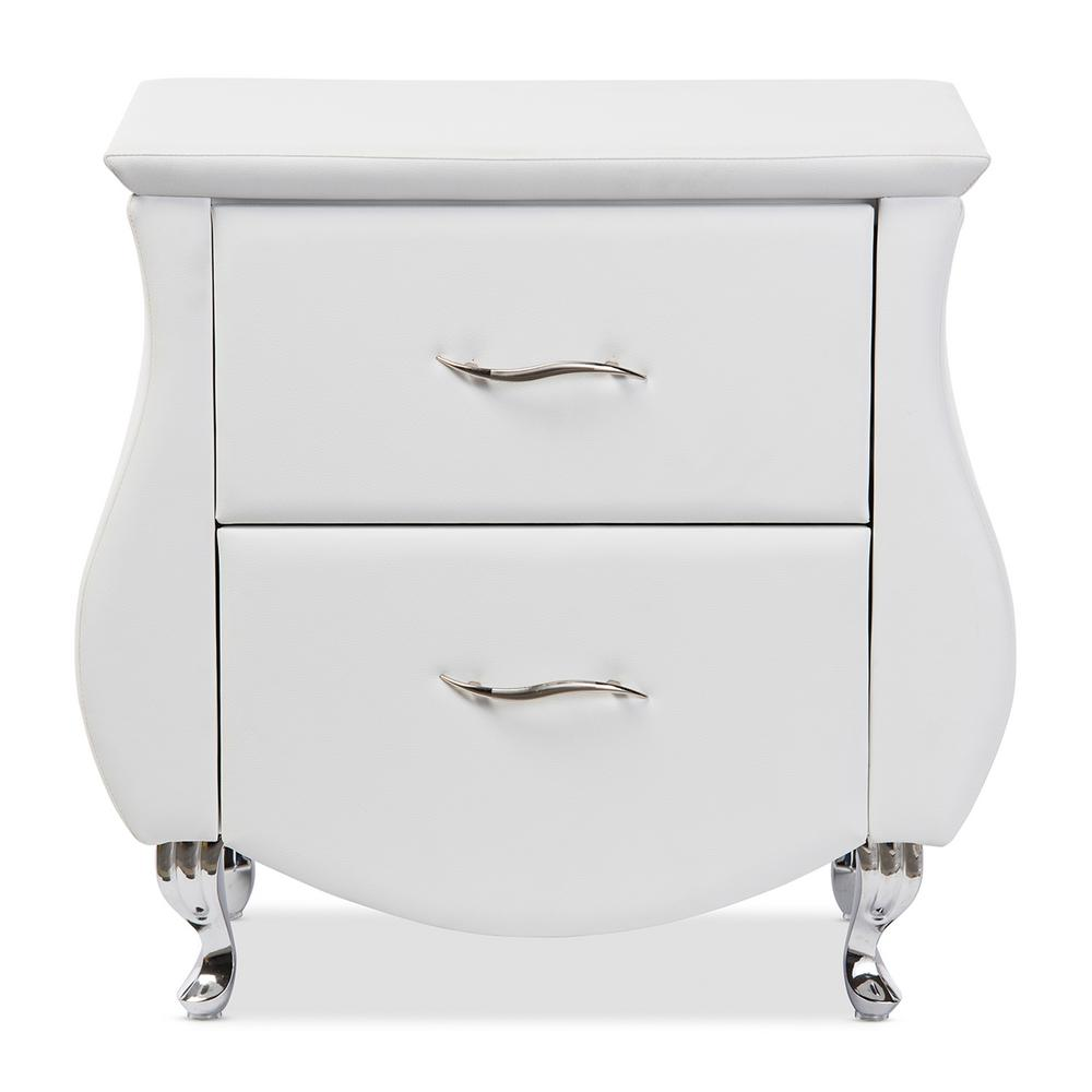 Erin 2-Drawer White Nightstand