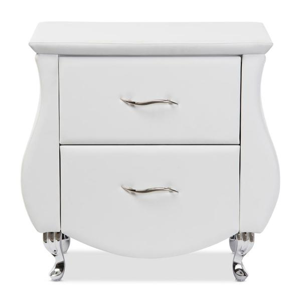 Baxton Studio Erin 2-Drawer White Nightstand 28862-6441-HD