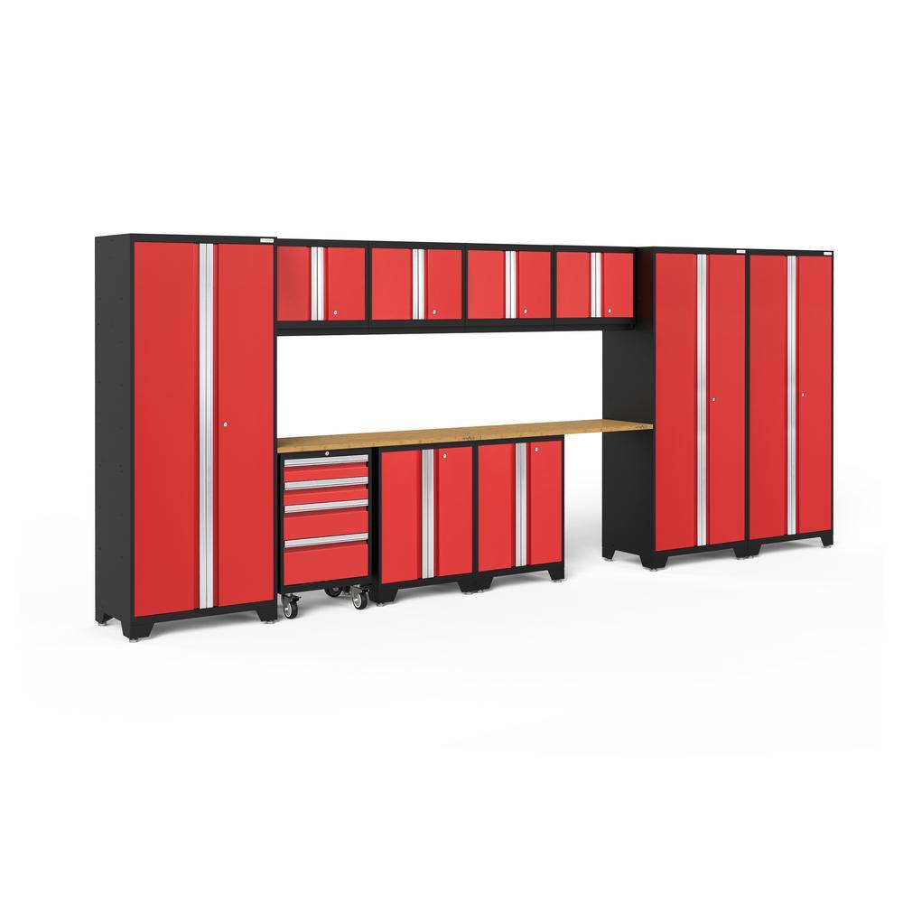 Bold 3.0 186 in. W x 75.25 in. H x 18 in. D 24-Gauge Welded Steel Bamboo Worktop Cabinet Set in Red (12-Piece)