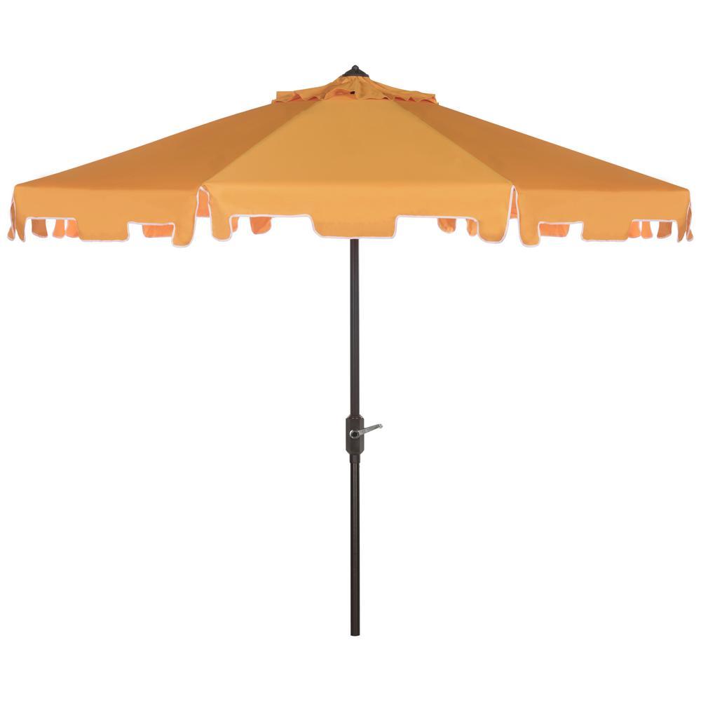 Safavieh Zimmerman 9 ft. Aluminum Market Tilt Patio Umbrella in Yellow/White