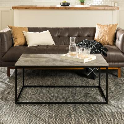 Mixed Material Coffee Table - Dark Concrete