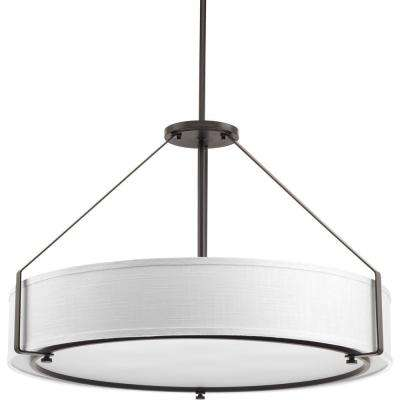 Ratio Collection 6-Light Antique Bronze Pendant with Fabric Shade Glass