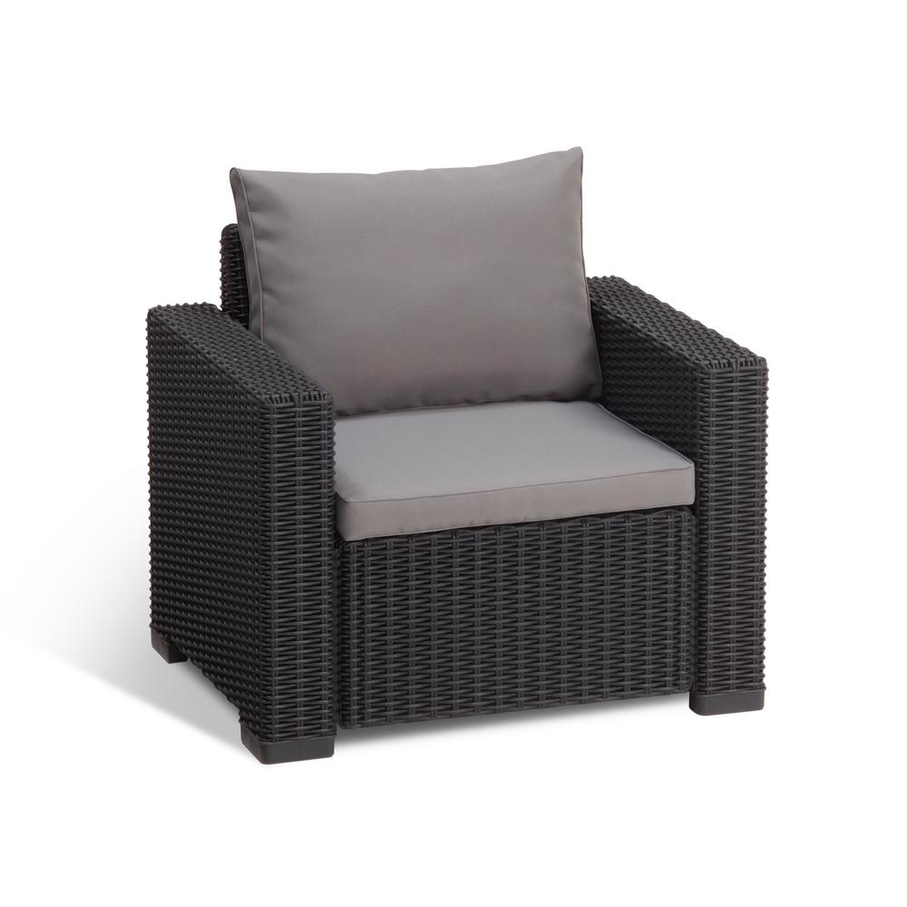 Genial Keter California Graphite Plastic Wicker Outdoor Lounge Chair With Cool  Grey Cushions