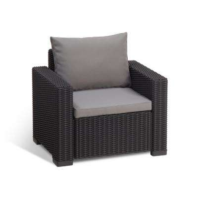California Graphite Plastic Wicker Outdoor Lounge Chair with Cool Grey Cushions