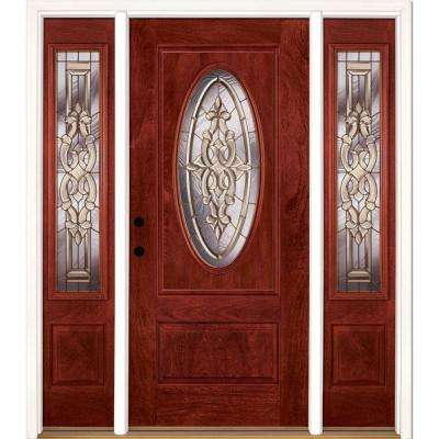 67.5 in.x81.625in.Silverdale Brass 3/4 Oval Lt Stained Cherry Mahogany Rt-Hd Fiberglass Prehung Front Door w/ Sidelites