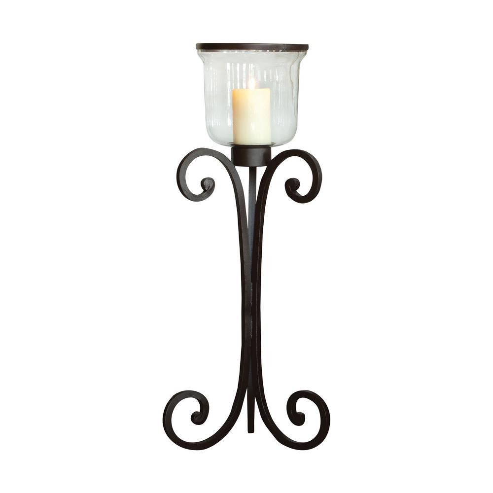 Rustic Metal And Clear Glass Floor Hurricane Candle Holder