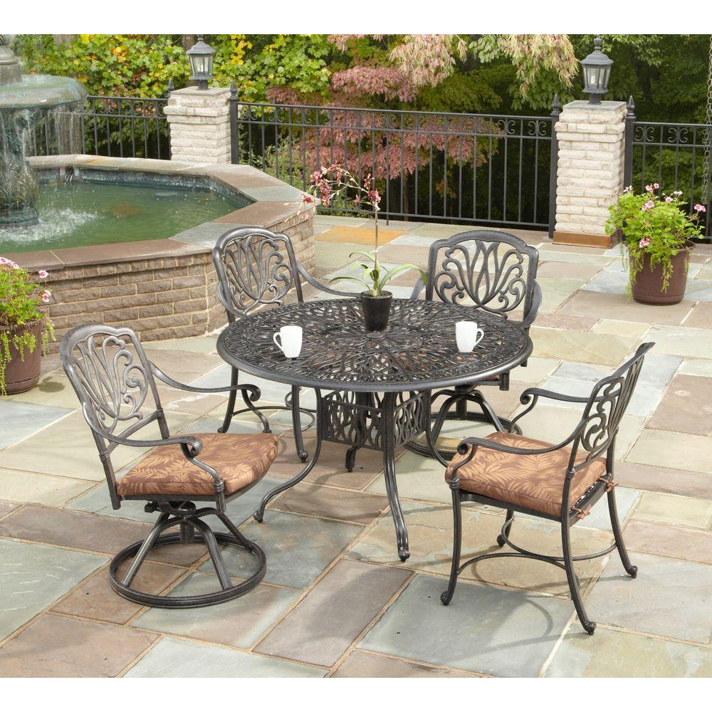 Home Styles Floral Blossom 48 in. Round 5-Piece Patio Dining Set with Burnt Sierra Leaf Cushions ...
