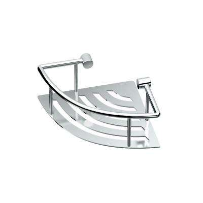 8 in. W Elegant Corner Shelf in Chrome