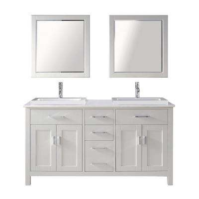 Kelly 63 in. Vanity in White with Solid Surface Marble Vanity Top in Carrara White and Mirror