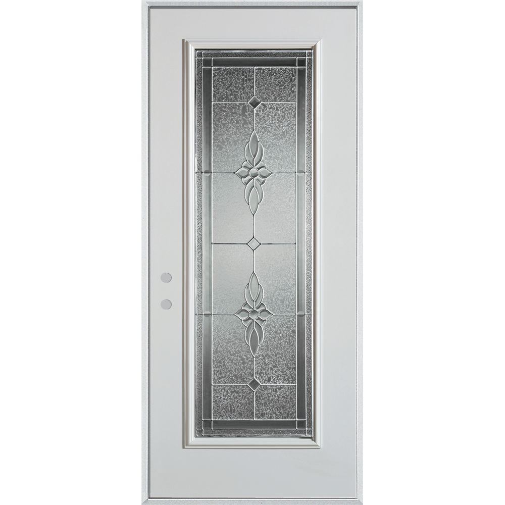 Stanley Doors 32 in. x 80 in. Victoria Zinc Full Lite Painted White Right-Hand Inswing Steel Prehung Front Door