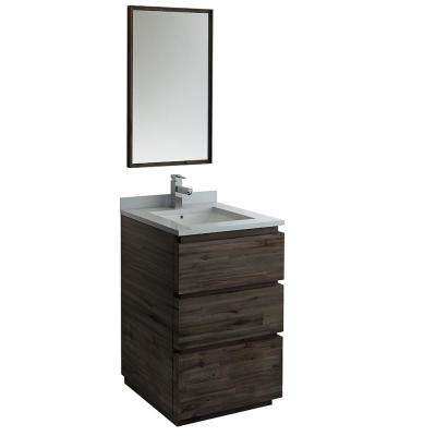 Formosa 24 in. Modern Vanity in Warm Gray with Quartz Stone Vanity Top in White with White Basin and Mirror