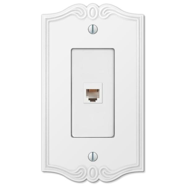 Charleston 1 Gang Phone Composite Wall Plate - White