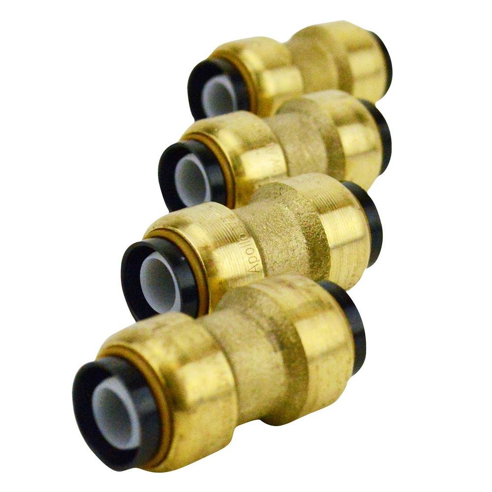 1/2 in. Brass Push-to-Connect Coupling (4-Pack)