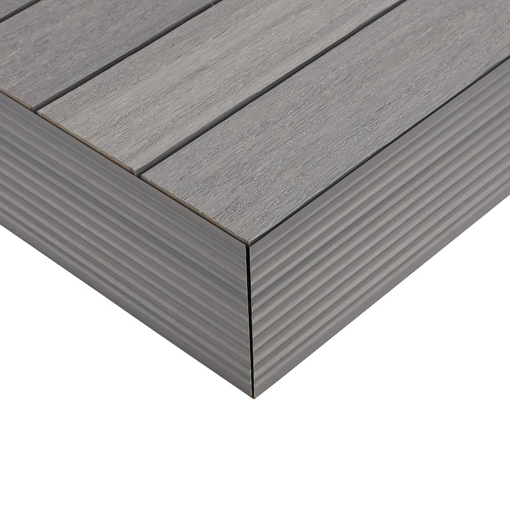 NewTechWood 1/6 ft. x 1 ft. Quick Deck Composite Deck Tile Outside Corner Trim in Westminster Gray (2-Pieces/box)