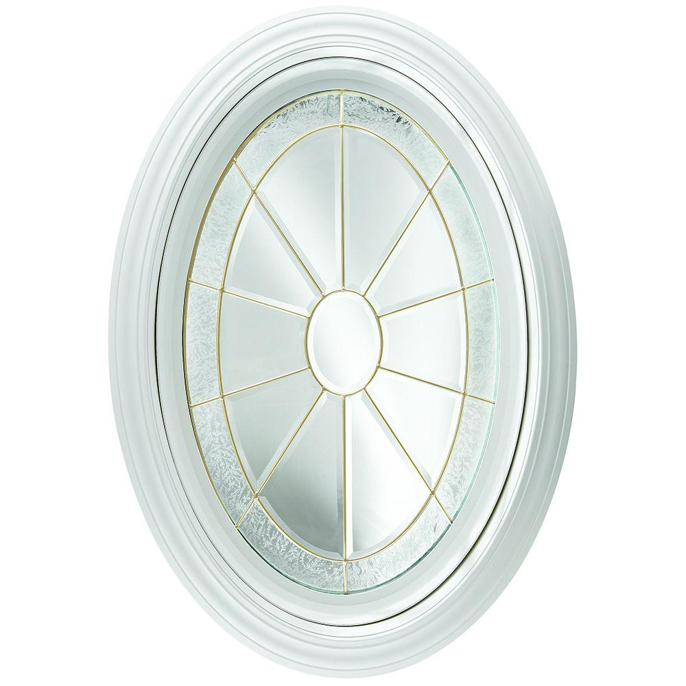 23.25 in. x 35.25 in. Decorative Glass Fixed Oval Vinyl Window