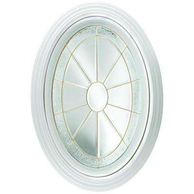 23.25 in. x 35.25 in. Decorative Glass Fixed Oval Geometric Vinyl Window in White