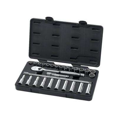 1/2 in. 6 and 12 Point Drive Ratchet and Metric Socket Set (28-Piece)