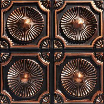 Whirligigs 2 ft. x 2 ft. PVC Glue-up Ceiling Tile in Antique Copper