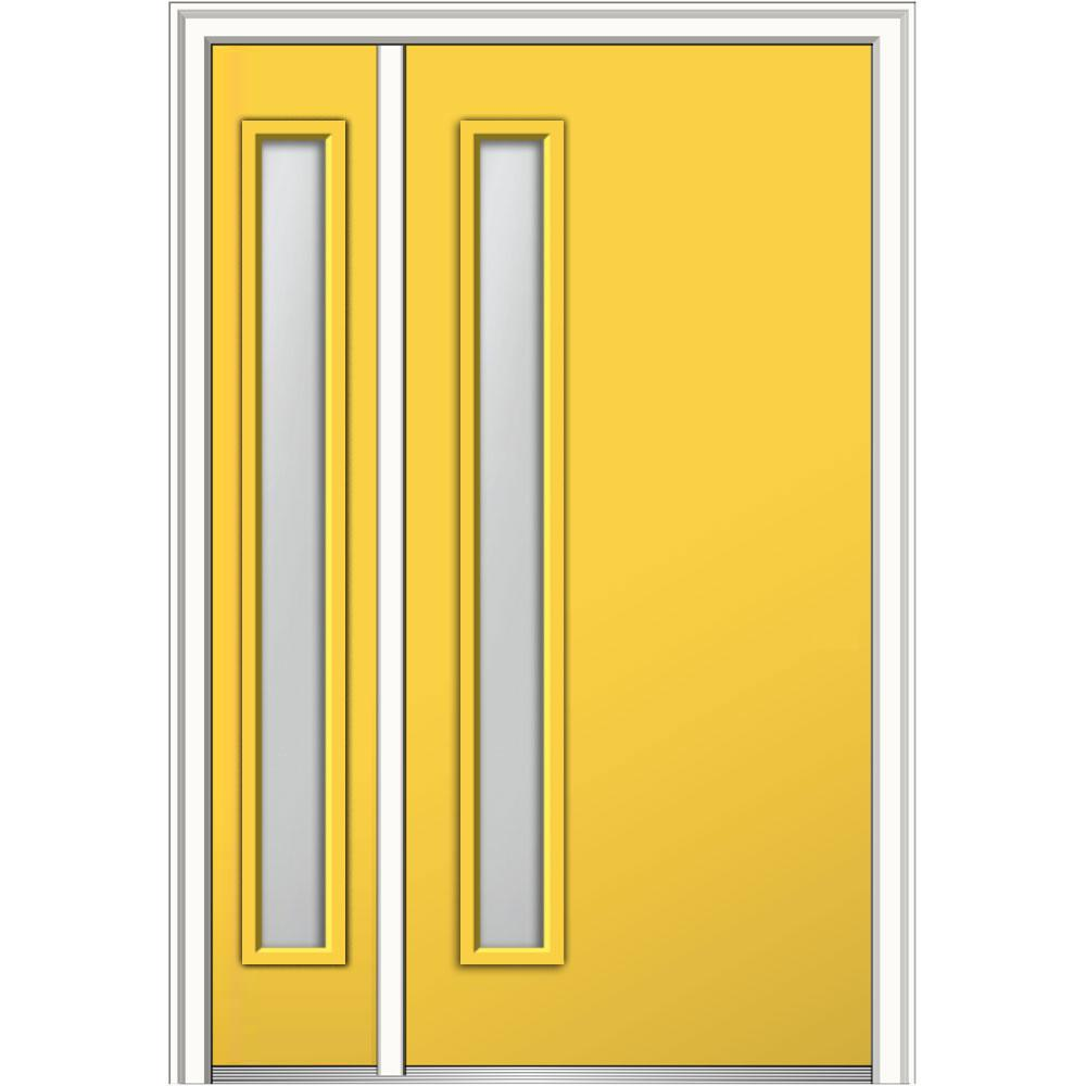 MMI Door 48 in. x 80 in. Viola Clear Low-E Right-Hand Inswing 1-Lite Midcentury Painted Steel Prehung Front Door with Sidelite