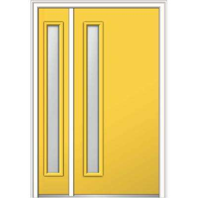 50 in. x 80 in. Viola Frosted Glass Right-Hand Inswing 1-Lite Midcentury Painted Steel Prehung Front Door with Sidelite