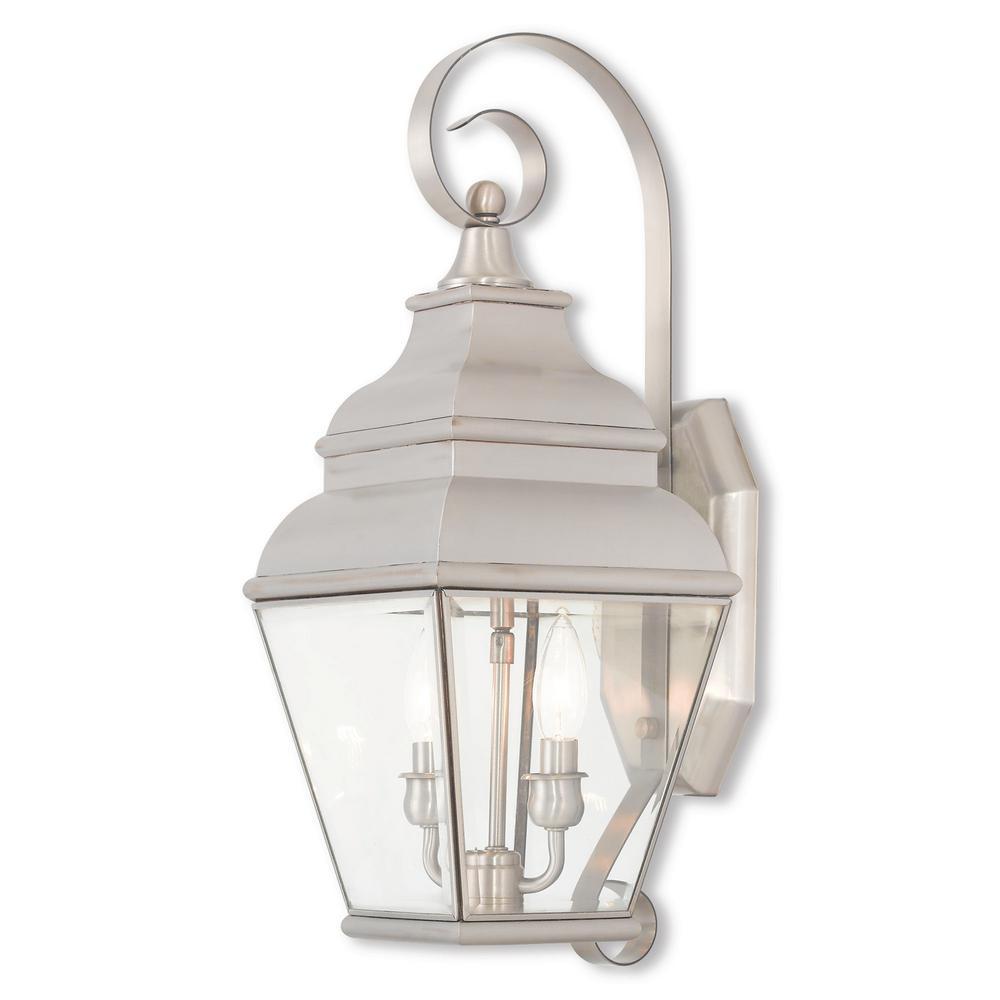 Exeter 2-Light Brushed Nickel Outdoor Wall Mount Lantern