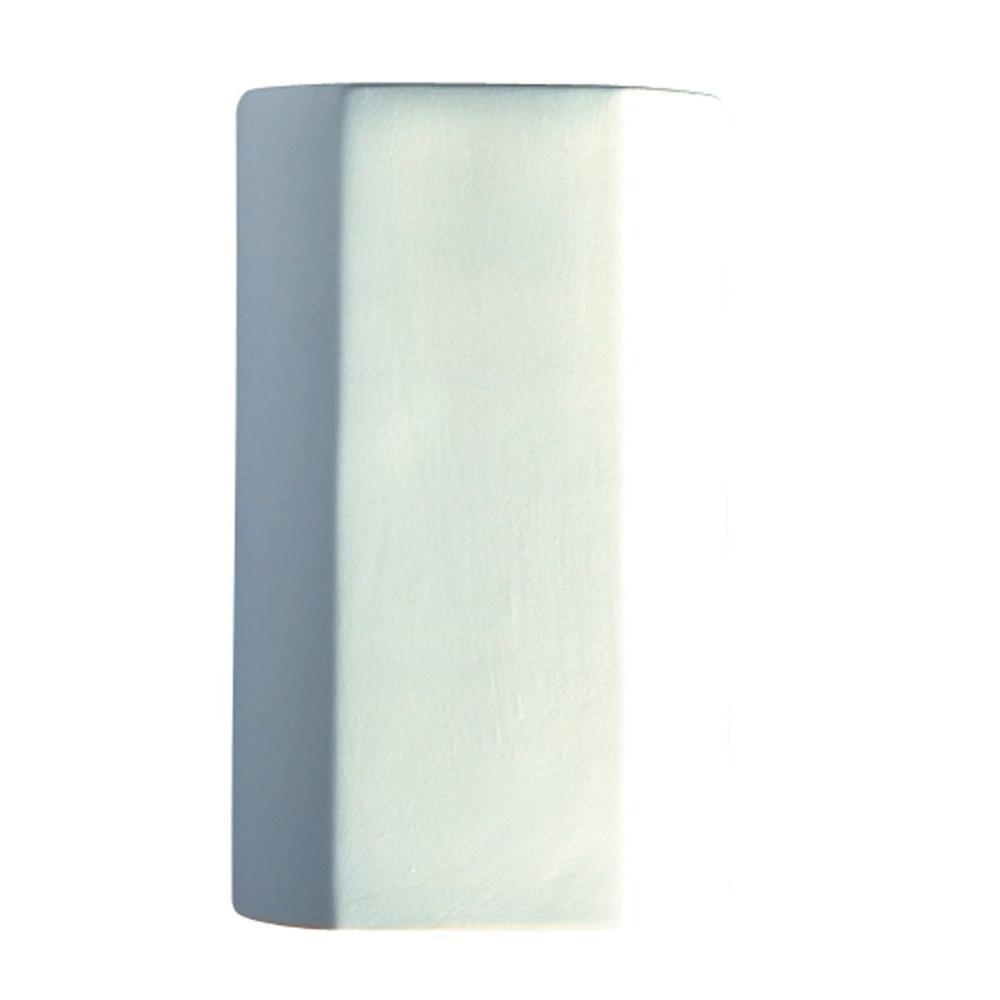 Leonidas 1-Light Paintable Ceramic Bisque Cylinder Closed Top Sconce