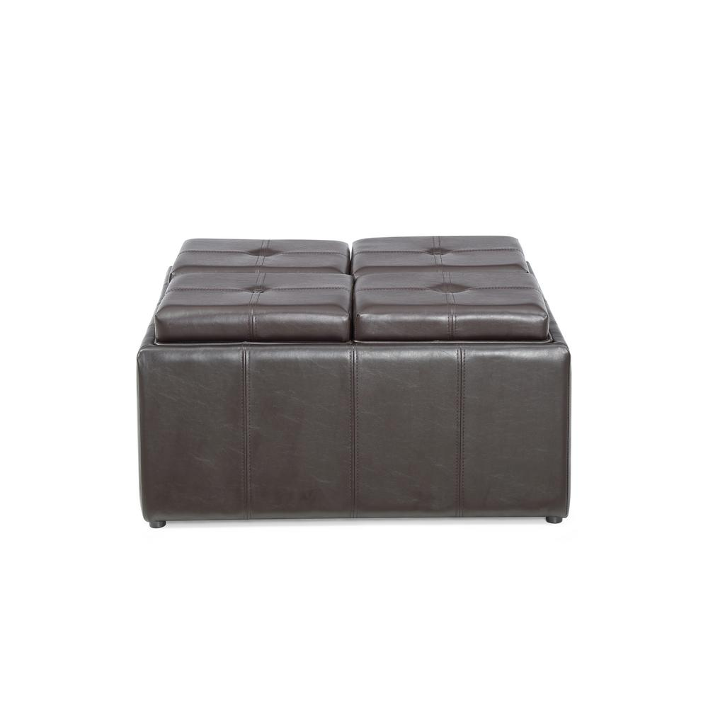 Hodedah Faux Leather Storage Brown Ottoman With 4 Flip