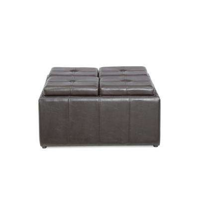 Faux Leather, Storage Brown Ottoman with 4-Flip over Serving Trays