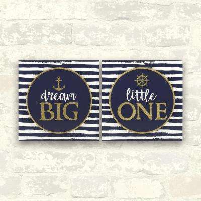 8 in. x 8 in. Dream Big Little Boxed Plaque with Raised Shape and Glitter