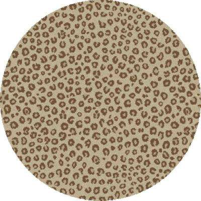 Shaggy Leopard Ivory 7 ft. Round Area Rug