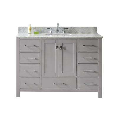 Caroline Avenue 49 in. W Bath Vanity in Cashmere Gray with Marble Vanity Top in White with Square Basin