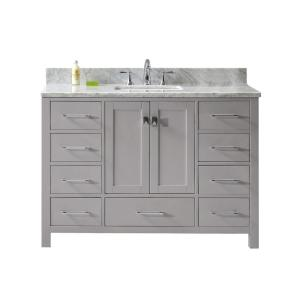 Virtu USA Caroline Avenue 48 inch W Vanity in Cashmere Grey with Marble Vanity Top in White with Square Basin in White by Virtu USA