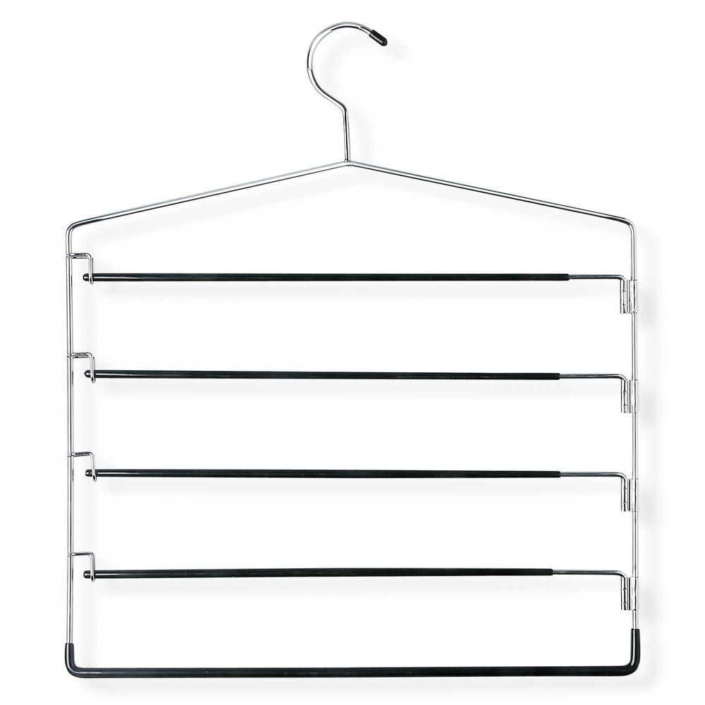 Chrome and Black Five-Tier Swinging Arm Pant Rack (2-Pack)