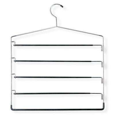 Chrome and Black Five-Tier Swinging Arm Pant 1-Hook Rack (2-Pack)