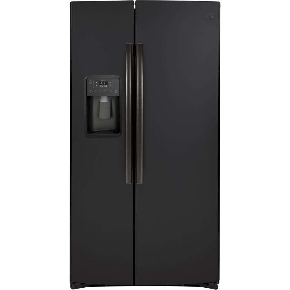 GE 21.8 cu. ft. Side by Side Refrigerator in Black Slate, Counter Depth and Fingerprint Resistant