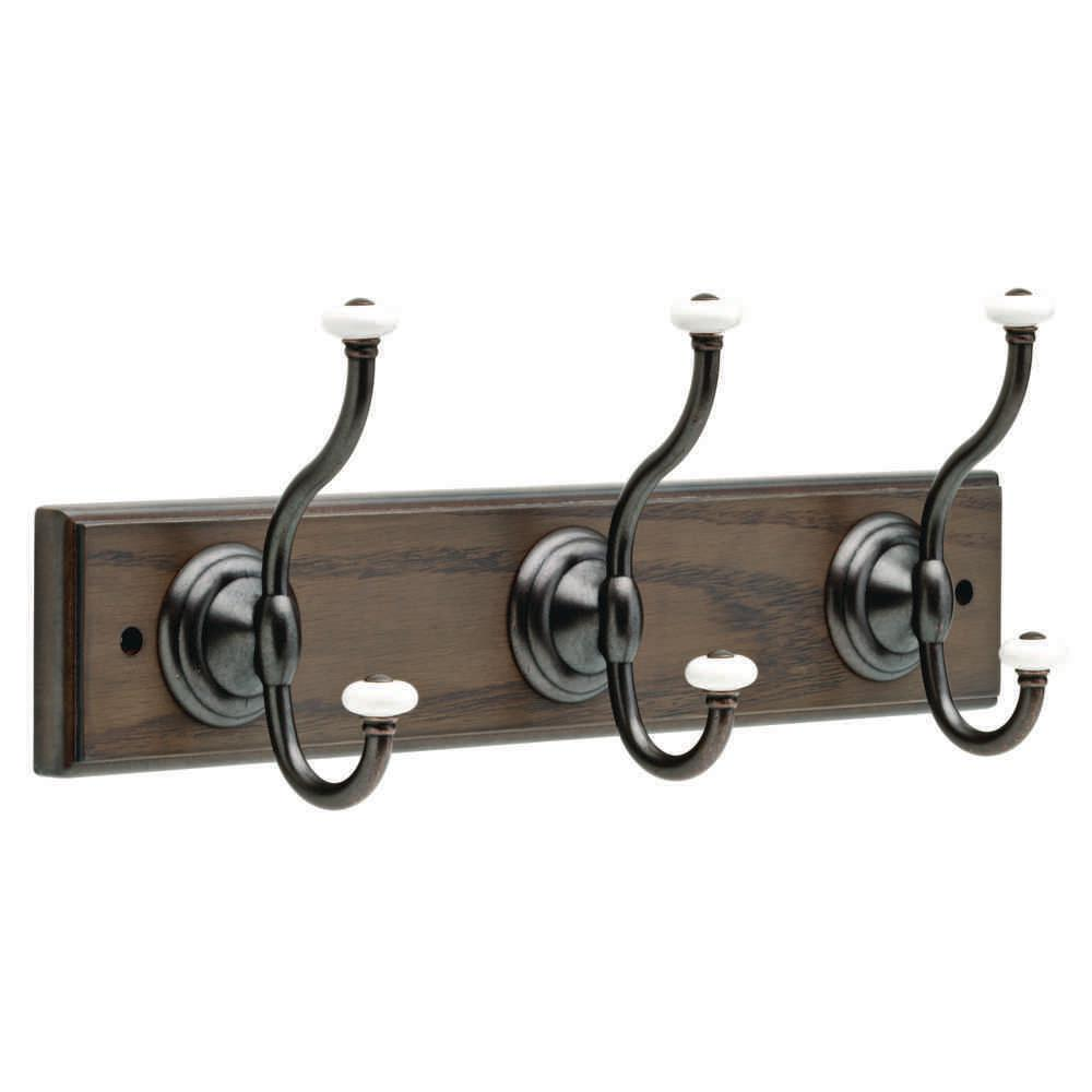 18 in. Ash Gray and Statuary Bronze Hook Rack with Ceramic