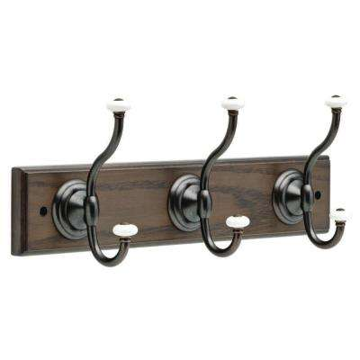 18 in. Ash Gray and Statuary Bronze Hook Rack with Ceramic Finials