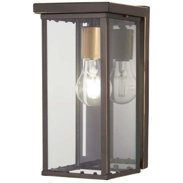 Casway 1-Light Oil Rubbed Bronze with Gold Highlights Outdoor Wall Lantern Sconce