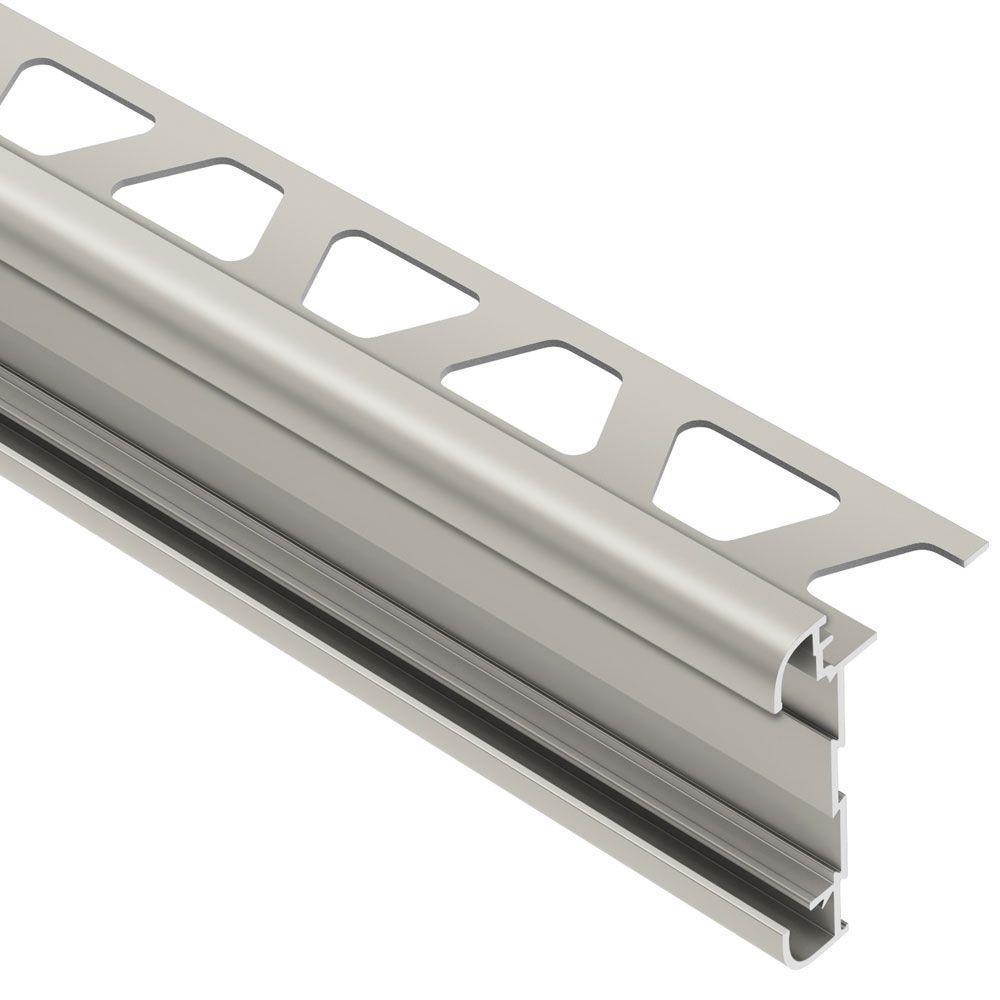 Rondec-CT Satin Nickel Anodized Aluminum 1/2 in. x 8 ft. 2-1/2 in. Metal Double-Rail Bullnose Tile Edging Trim
