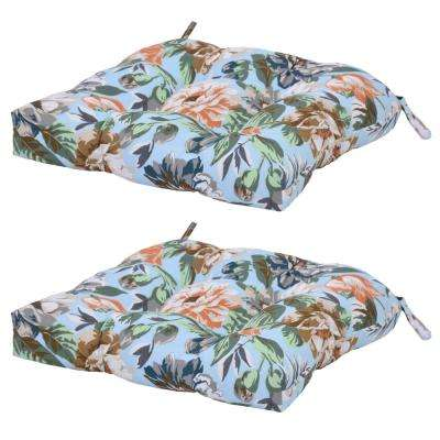 Green Charleston Floral Attached Ties Outdoor Chair Cushions