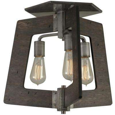Lofty 3-Light Faux Zebrawood and Steel Semi-Flushmount