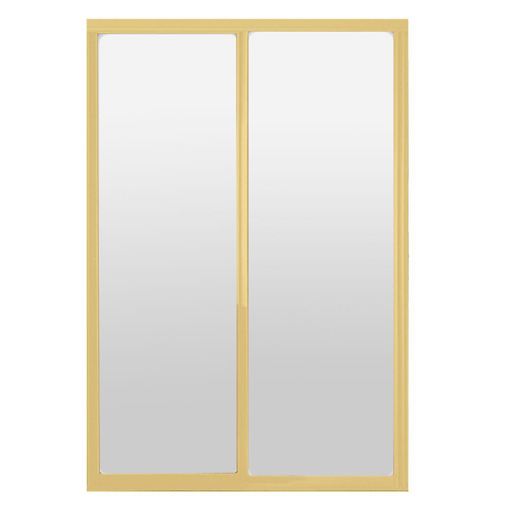 60 in. x 81 in. Silhouette 1-Lite Mystique Glass Bright Gold Frame Aluminum Sliding Door