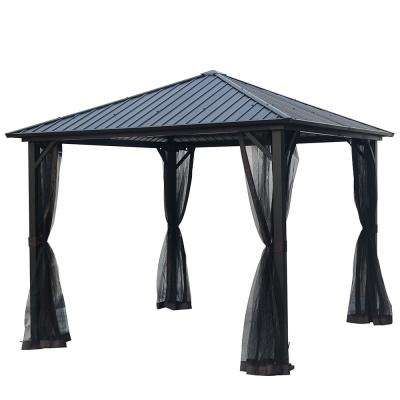 10 ft. x 10 ft. Black Hardtop Galvanized Steel/Metal Outdoor Patio Gazebo