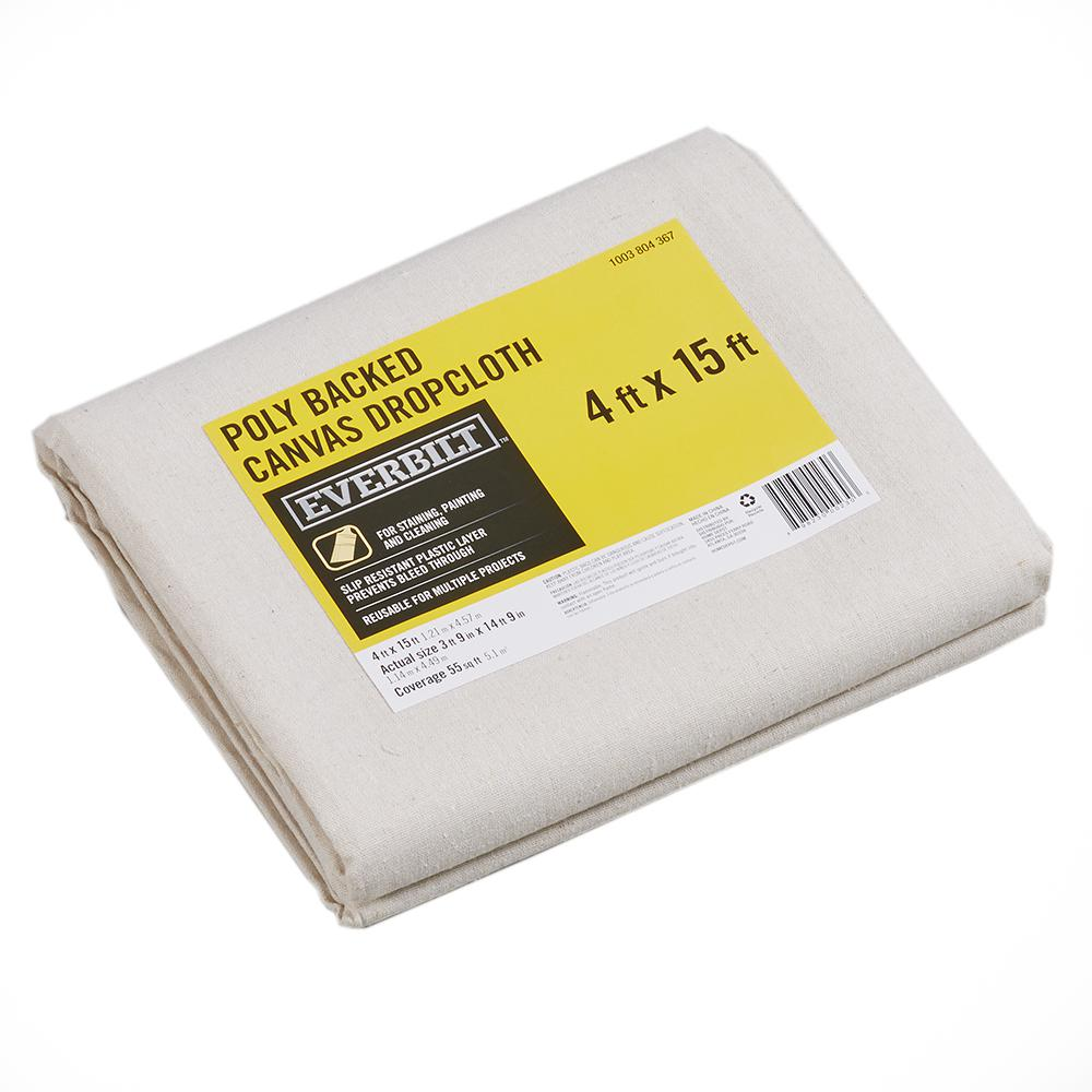Blues Canvas Reusable Absorbent Slip Resistant Surface New Drop Cloth 4 x 15 ft