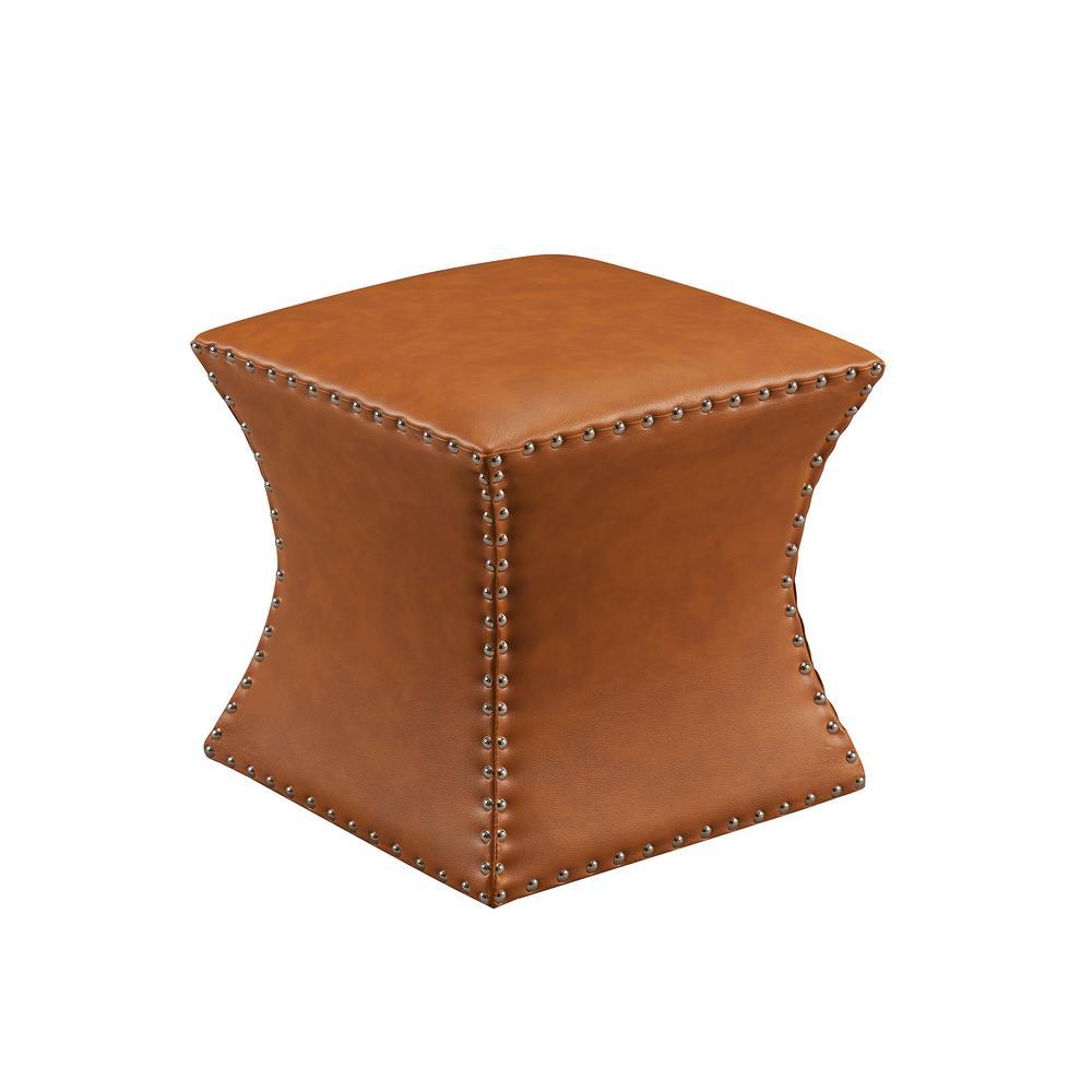 Brown Nailhead Trim Faux Leather Ottoman