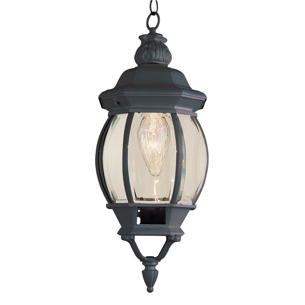 1-Light Outdoor Black Hanging Lantern With Beveled Glass