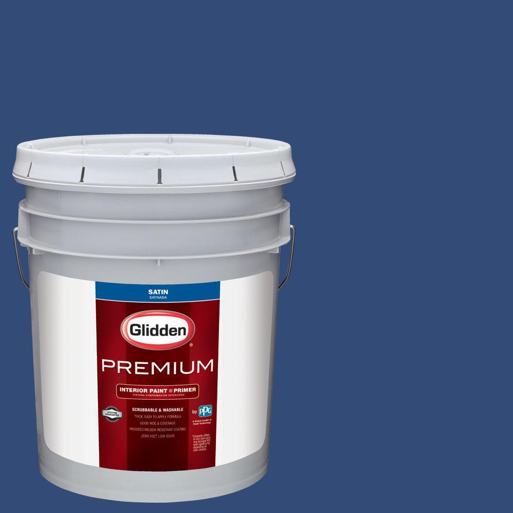 Glidden Premium 5 gal. #nhl-016C Montreal Canadiens Dark Blue Satin Interior Paint with Primer, Blues
